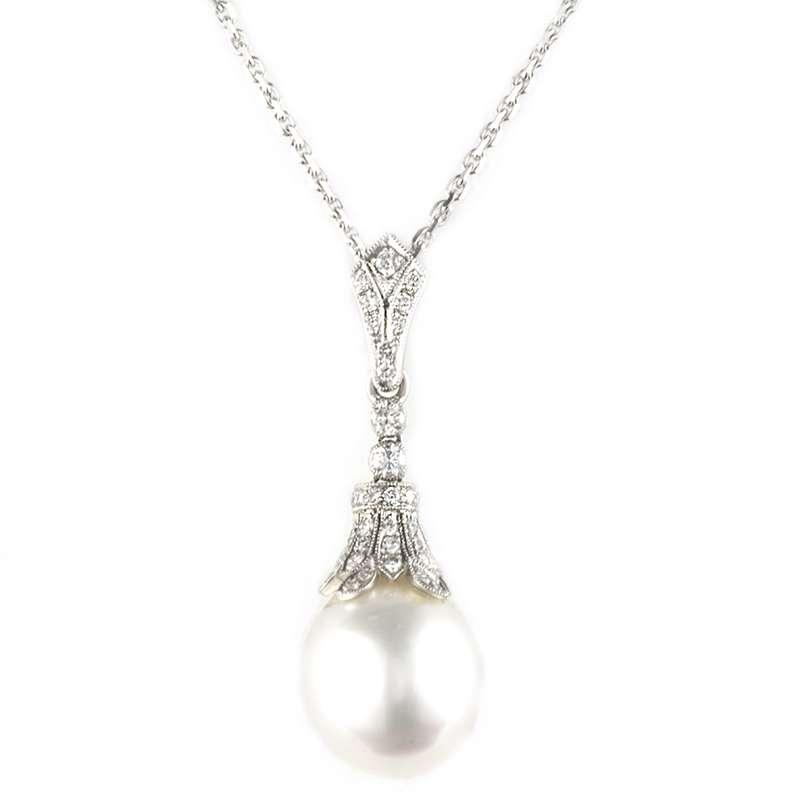 18k White Gold Diamond and Pearl Drop Pendant